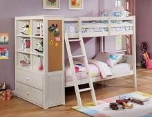 CM-BK266WH Dero kids athena white finish wood twin over twin bunk bed with bookcase headboard