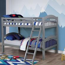 CM-BK524GY Coney island iii gray wood finish twin over twin bunk bed front ladder