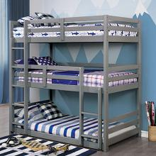 CM-BK589GY California V triple twin bed twin over twin over twin gray finish wood bunk bed