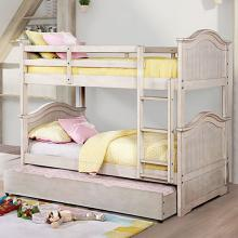 CM-BK635WH Hermine antique white finish wood twin over twin convertible bunk bed