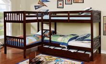 CM-BK904 Marquette quadruple twin bed twin/twin over twin/twin espresso finish wood bunk bed