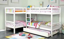 CM-BK904WH Marquette quadruple twin bed twin/twin over twin/twin white finish wood bunk bed