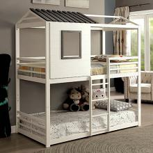 CM-BK935 Stockholm gray and white finish wood loft play house design twin size bunk bed