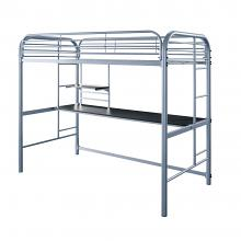 CM-BK938SV Opal silver finish tubular metal frame twin loft with workstation underneath