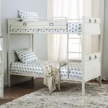 CM-BK959WH Mccredmond white finish metal frame industrial style twin over twin bunk bed set