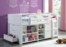 CM-BK967 Abigail white finish wood twin loft bunk bed with bookcases and drawers