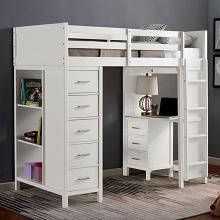 CM-BK970 Cassidy white finish wood twin loft bunk bed with bookcase , desk and drawers
