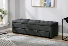 CM-BN6352GY Aguda gray tweed like fabric upholstered tufted storage bench