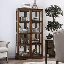 CM-CR140A Gracie oaks rehkop oak finish wood storage curio with 2 cabinet doors