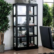 CM-CR140BK Gracie oaks rehkop black finish wood storage curio with 2 cabinet doors