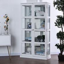 CM-CR140WH Gracie oaks rehkop white finish wood storage curio with 2 cabinet doors