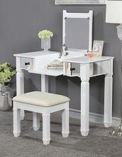 CM-DK5235 3 pc House of hampton Juliette jaylynn white finish wood make up bedroom vanity set