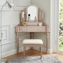 CM-DK5849RG 3 pc House of hampton castiel kasey rose pink finish wood corner shaped make up bedroom vanity set
