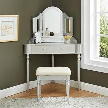 CM-DK5849SV 3 pc House of hampton castiel kasey silver finish wood corner shaped make up bedroom vanity set