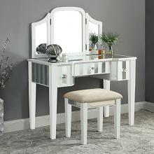 CM-DK6361WH 3 pc Rosdorf park fleeton cyndi white finish wood make up bedroom vanity set