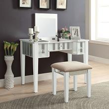 CM-DK6385WH 2 pc Rosdorf park salyer joyce white finish wood make up bedroom vanity set