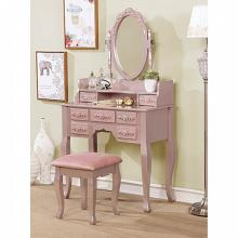 CM-DK6845RG 3 pc harriet rose gold finish wood bedroom make up vanity sitting table set with mirror