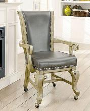 CM-GM367GY-AC-2PK Set of 2 melina gray finish wood poker game / dining chairs with casters