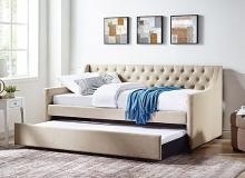 CM1746F 2 pc emmy beige tufted fabric full day bed and pull out trundle
