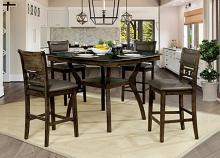 CM3023-PT-5PC 5 pc Winston porter costantino flick walnut finish wood counter height dining table set