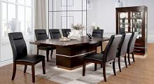 CM3130T-7PC 7 pc Lawrence dark cherry finish wood center pedestal led light dining table set