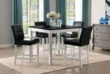 CM3143PT-5pc 5 pc Alcott hill mathilda white finish wood marble top counter height dining table set