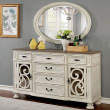 CM3150WH-SV Arcadia antique white finish wood dining sideboard server buffet table
