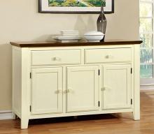 CM3216SV Harrisburg vintage white and dark oak finish wood dining server sideboard