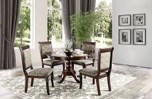 "CM3224RT 5 pc Fleur de lis living langport st nicholas ii cherry finish wood 48"" round dining table set"