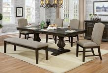 CM3310T-6PC 6 pc Faulk espresso finish wood trestle base dining table set