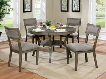 CM3387RT-5PC 5 pc Gracie oaks horan leeds gray finish wood round trestle base dining table set