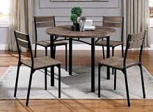 """CM3397RT-5PC 5 pc Meade antique brown finish wood 40"""" round dining table set"""