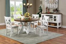 "CM3417RT-5PC 5 pc Gracie oaks auletta distressed white and dark oak finish wood 54"" round country dining table set"