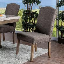 CM3429SC-2PK Set of 2 Bridgend natural finish wood dining chairs with brown fabric upholstery
