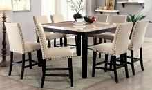 CM3466PT-7PC 7 pc Alcott hill quill dodson II black finish wood faux marble top counter height dining table set