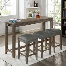 CM3474GY-PT-4PK 4 pc Topline caerleon grey finish wood padded seats counter height dining table set