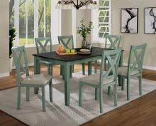 CM3476GR-T-7PK 7 pc Gracie oaks anya distressed teal and gray finish wood country dining table set