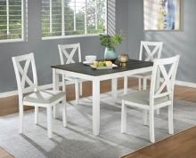 CM3476WH-T-5PK 5 pc Gracie oaks anya distressed white and gray finish wood country dining table set