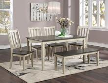 CM3478WH-T-6PC 6 PC Gracie oaks frances antique white and gray finish wood country dining table set