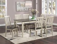 CM3478WH-T-7PC 7 PC Gracie oaks frances antique white and gray finish wood country dining table set