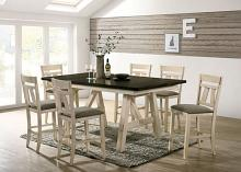 CM3487PT-7PC 7 PC Ophelia & Co. tomas jamestown ivory and dark gray finish wood country counter height dining table set