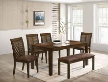 CM3490T-6PC 6 pc Charlton home Garnett walnut finish wood dining table set faux leather seats and bench