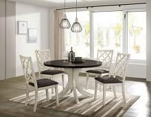 """CM3491RT-5PC 5 PC Ophelia & Co. Haleigh antique white and dark walnut finish wood 47"""" round dining table set"""