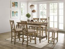 CM3492PT-7PC 7 PC Ophelia & Co. tomas Plankinton rustic oak finish wood country counter height dining table set