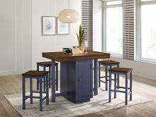 CM3493PT-5PK 5 PC Ophelia & Co. Azurine antique dark oak and muted blue finish wood country counter height dining table set