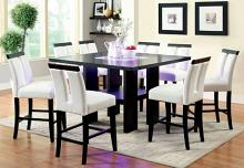 CM3559PT-7PC 7 pc Orren ellis luminar ii black finish wood counter height dining table set center LED frosted glass insert