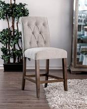 CM3564A-PC Set of 2 Marshall beige linen like fabric antique oak finish wood counter height chairs