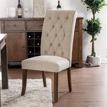 CM3564A-SC Set of 2 Marshall beige linen like fabric antique oak finish wood side chairs