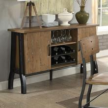 CM3573SV Kirstin industrial style metal trestle legs with rustic oak finish wood top server