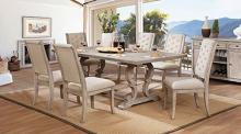CM3577T-7PC 7 pc Patience rustic natural finish wood trestle base dining table set